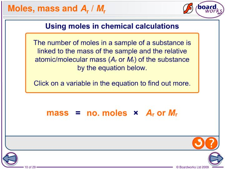 Moles, mass and