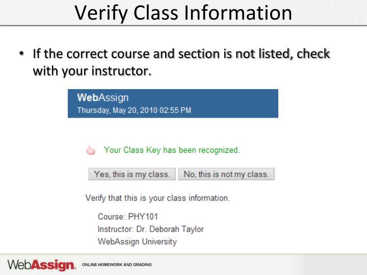Verify Class Information