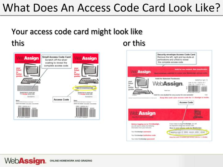 What Does An Access Code Card Look Like?