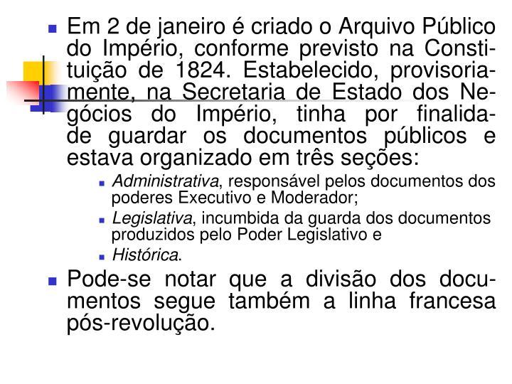 Em 2 de janeiro é criado o Arquivo Público do Império,conformeprevisto na Consti-tuiçãode 1824.Estabelecido, provisoria-mente, na Secretaria de Estado dos Ne-gócios do Império,tinhapor finalida-deguardar os documentos públicose estava organizado em três seções:
