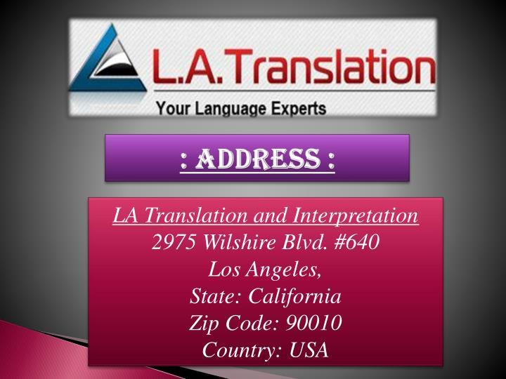 : Address :
