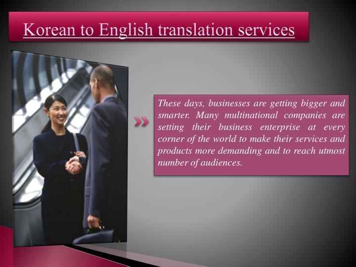 Korean to English translation services