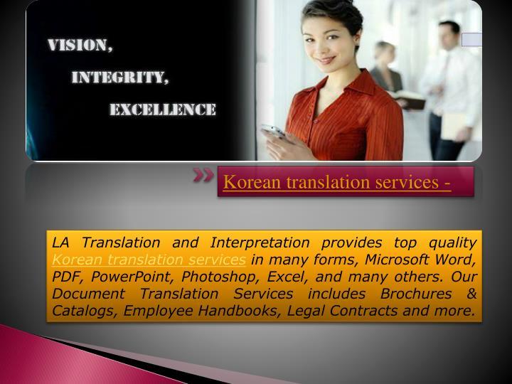 Korean translation services -