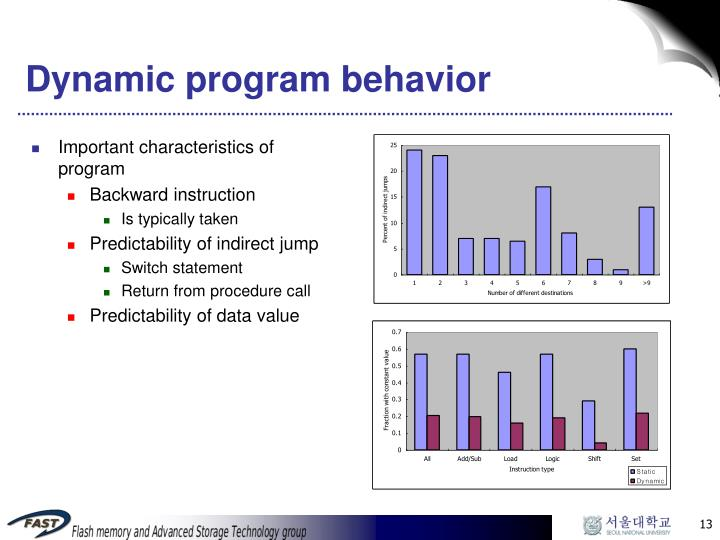 Dynamic program behavior