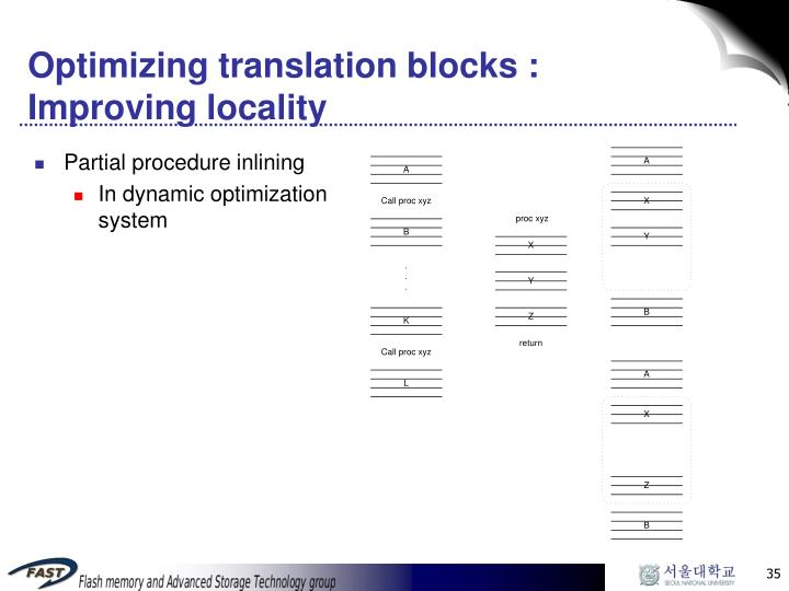 Optimizing translation blocks : Improving locality