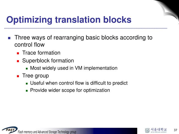 Optimizing translation blocks