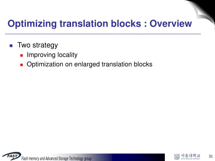 Optimizing translation blocks : Overview