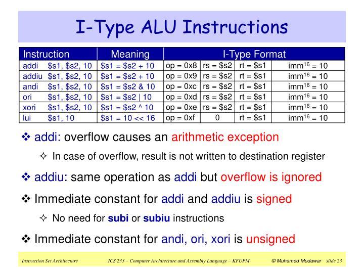 I-Type ALU Instructions