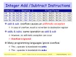 integer add subtract instructions