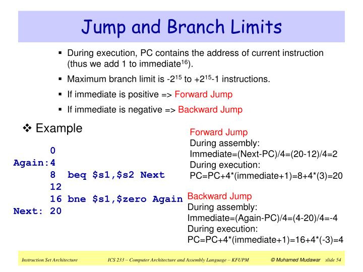 Jump and Branch Limits