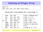 summing an integer array