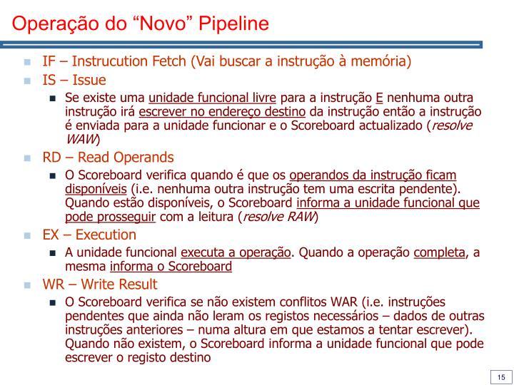 """Operação do """"Novo"""" Pipeline"""