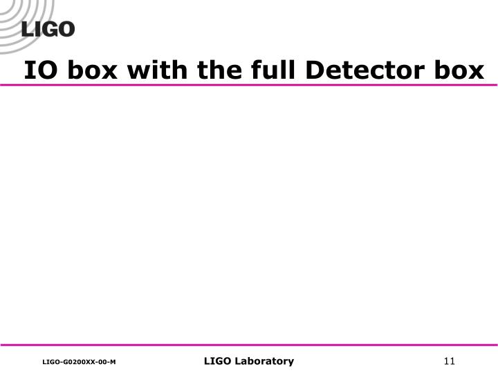 IO box with the full Detector box