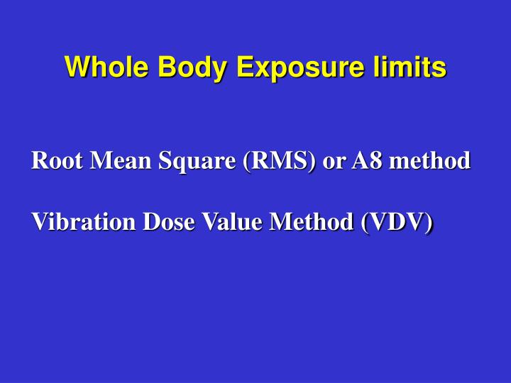 Whole Body Exposure limits