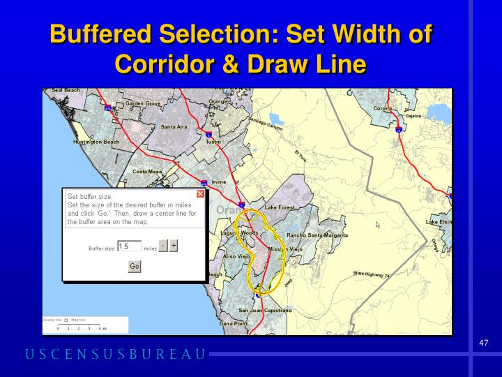 Buffered Selection: Set Width of Corridor & Draw Line