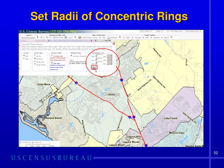 Set Radii of Concentric Rings