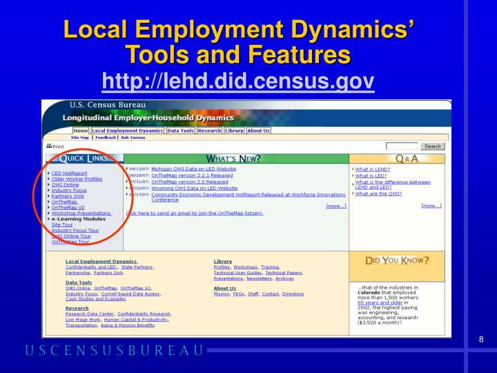 Local Employment Dynamics' Tools and Features
