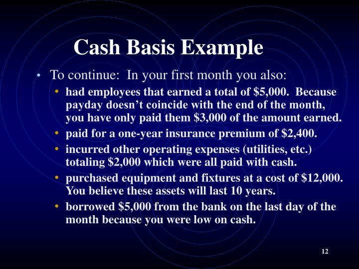 Cash Basis Example