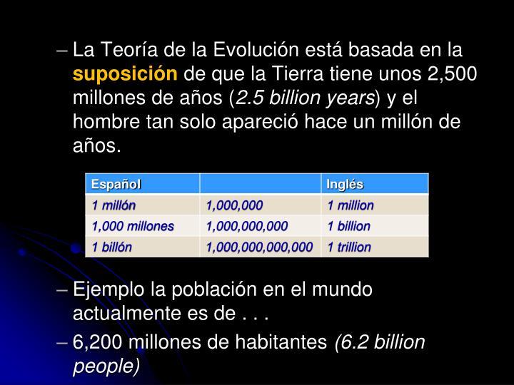 La Teoría de la Evolución está basada en la