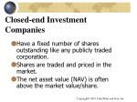 closed end investment companies