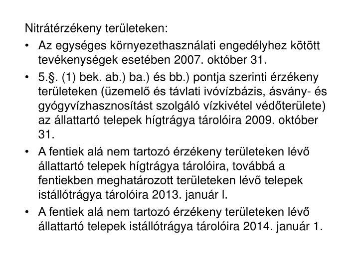 Nitrátérzékeny területeken: