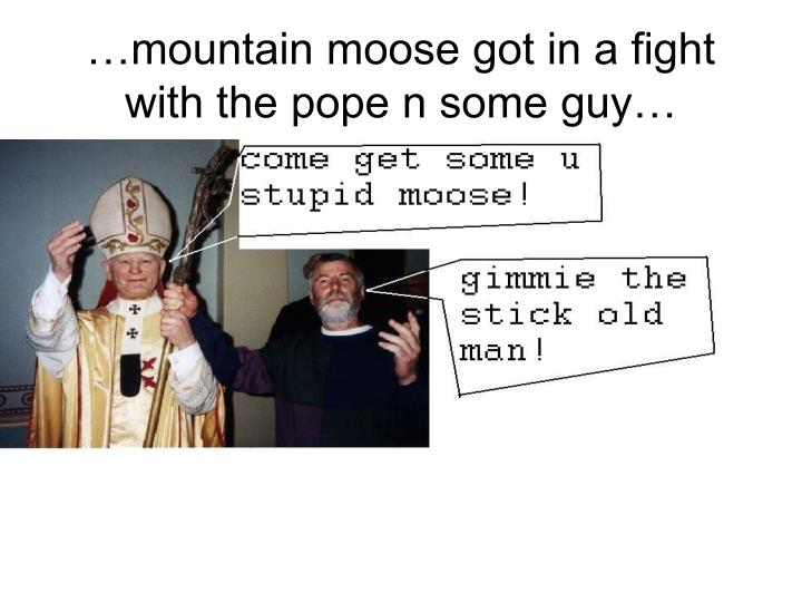 …mountain moose got in a fight with the pope n some guy…