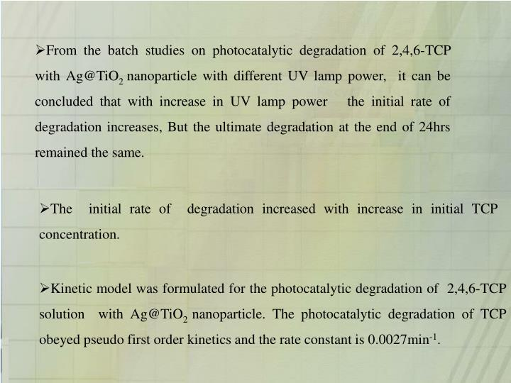 From the batch studies on photocatalytic degradation of 2,4,6-TCP with