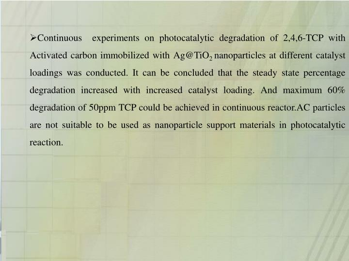 Continuous  experiments on photocatalytic degradation of 2,4,6-TCP with Activated carbon immobilized with Ag@TiO