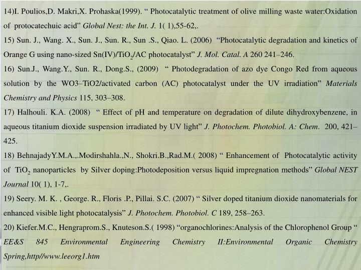 14)I. Poulios,D. Makri,X. Prohaska(1999).
