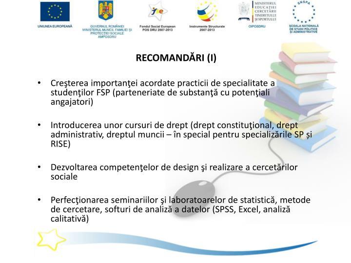RECOMANDĂRI (I)