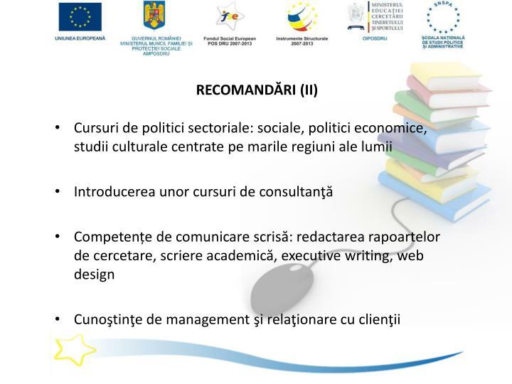 RECOMANDĂRI (II)