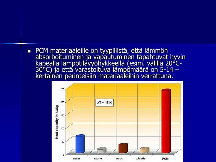 PCM materiaaleille on tyypillistä, että lämmön absorboituminen ja vapautuminen tapahtuvat hyvin kapealla lämpötilavyöhykkeellä (esim. välillä 20°C-  30°C) ja että varastoituva lämpömäärä on 5-14 –kertainen perinteisiin materiaaleihin verrattuna.