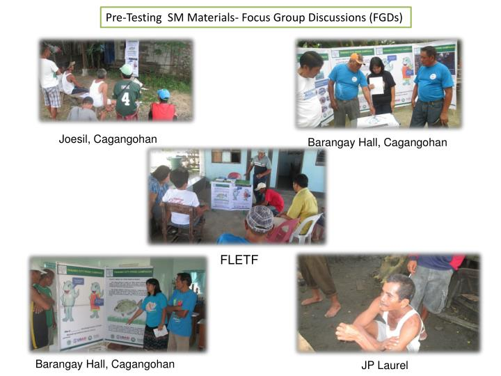 Pre-Testing  SM Materials- Focus Group Discussions (FGDs)