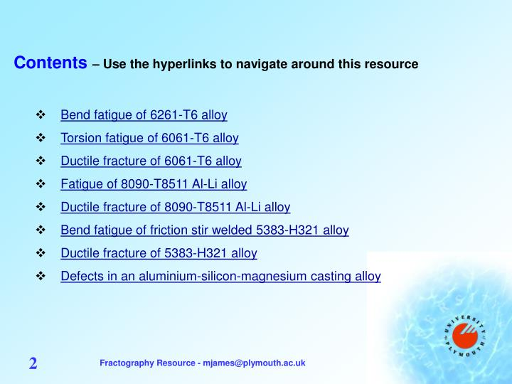 Contents use the hyperlinks to navigate around this resource