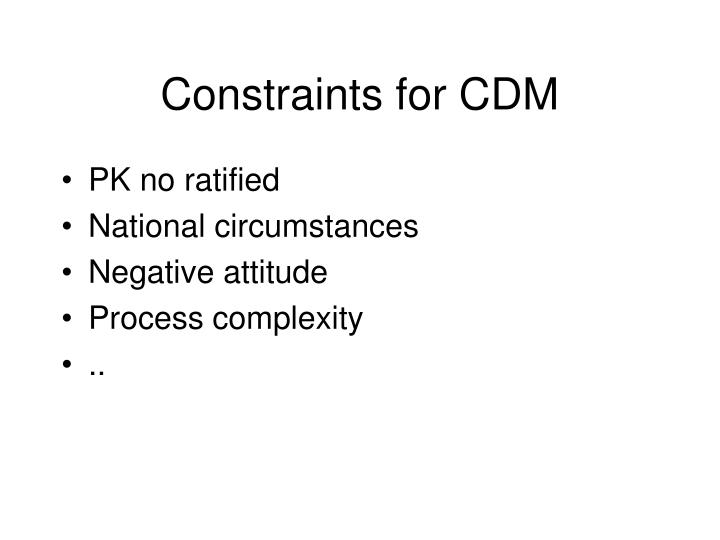 Constraints for cdm