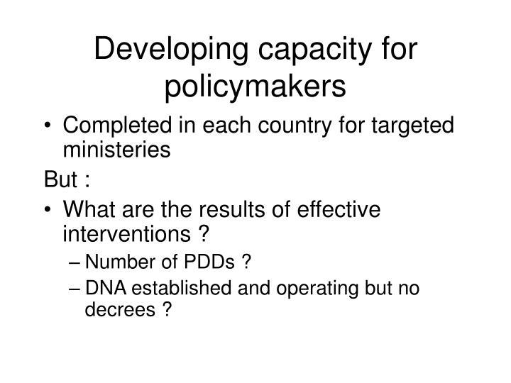 Developing capacity for