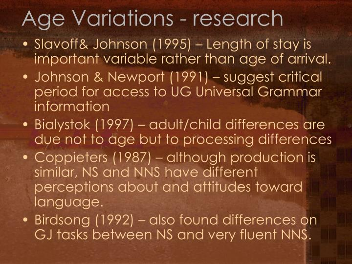 Age Variations - research