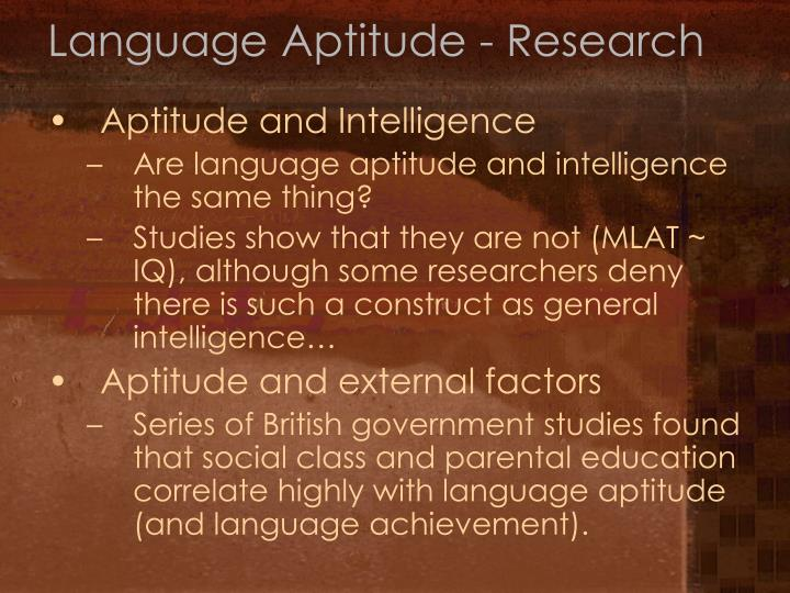 Language Aptitude - Research