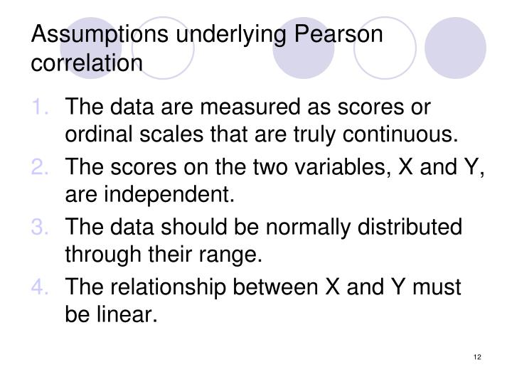 Assumptions underlying Pearson correlation