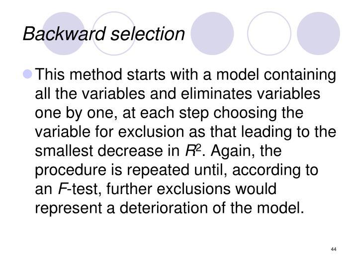 Backward selection