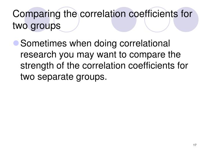 Comparing the correlation coefficients for two groups