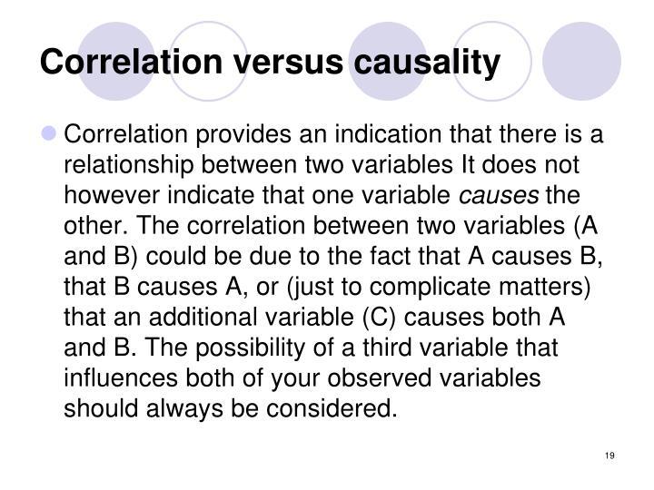 Correlation versus causality