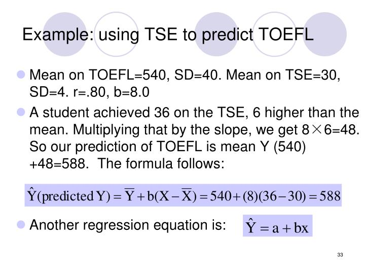 Example: using TSE to predict TOEFL