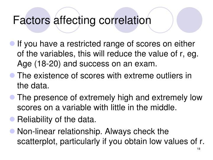 Factors affecting correlation