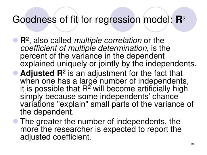 Goodness of fit for regression model: