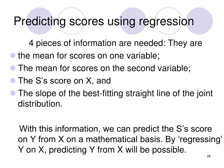 Predicting scores using regression
