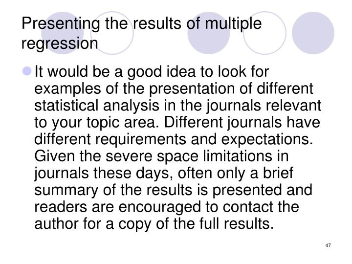Presenting the results of multiple regression