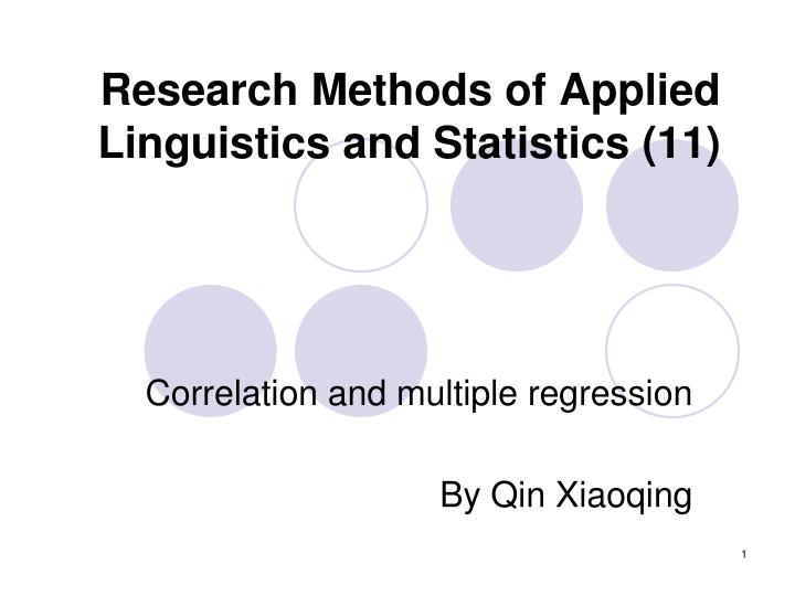 Research methods of applied linguistics and statistics 11