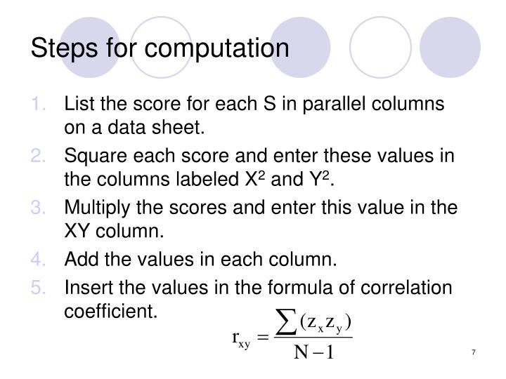 Steps for computation