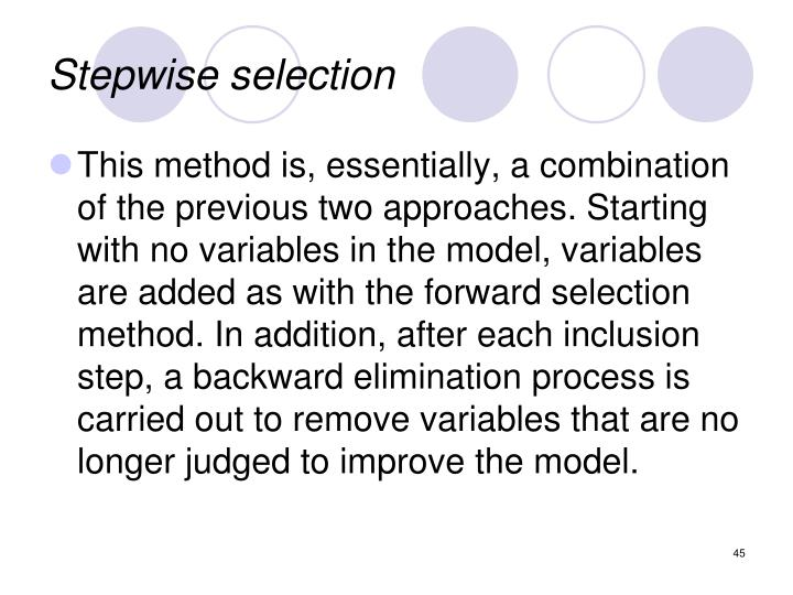 Stepwise selection